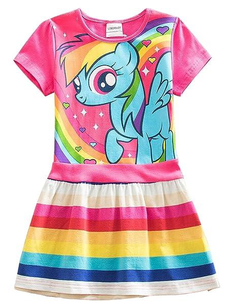 c3dea827a LEMONBABY Little Girls My Little Pony Sleeveless Princess Birthday Lace  Dress 2y-7y (3