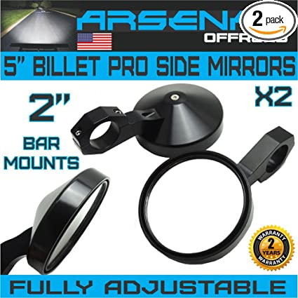UTV Side View Mirrors Arsenal Pro Series Heavy Duty Military Grade Billet Aluminum with 2 Inch