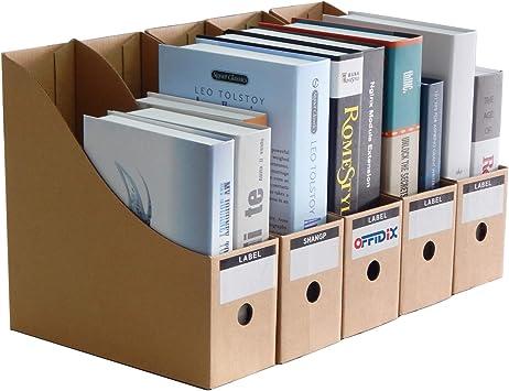 OFFIDIX Oficina 5 niveles Caja de almacenamiento de escritorio de papel Kraft A4 Organizador de papel de soporte de documentos para oficina en casa Caja de almacenamiento de archivos de papel DIY: