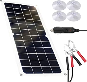 Solar Panels Battery Charger 12 Volt 10W Waterproof Portable Solar Panel kit Flexible Monocrystalline Emergency Charging Power for Car Homes RV Boat Phone Camping Travel
