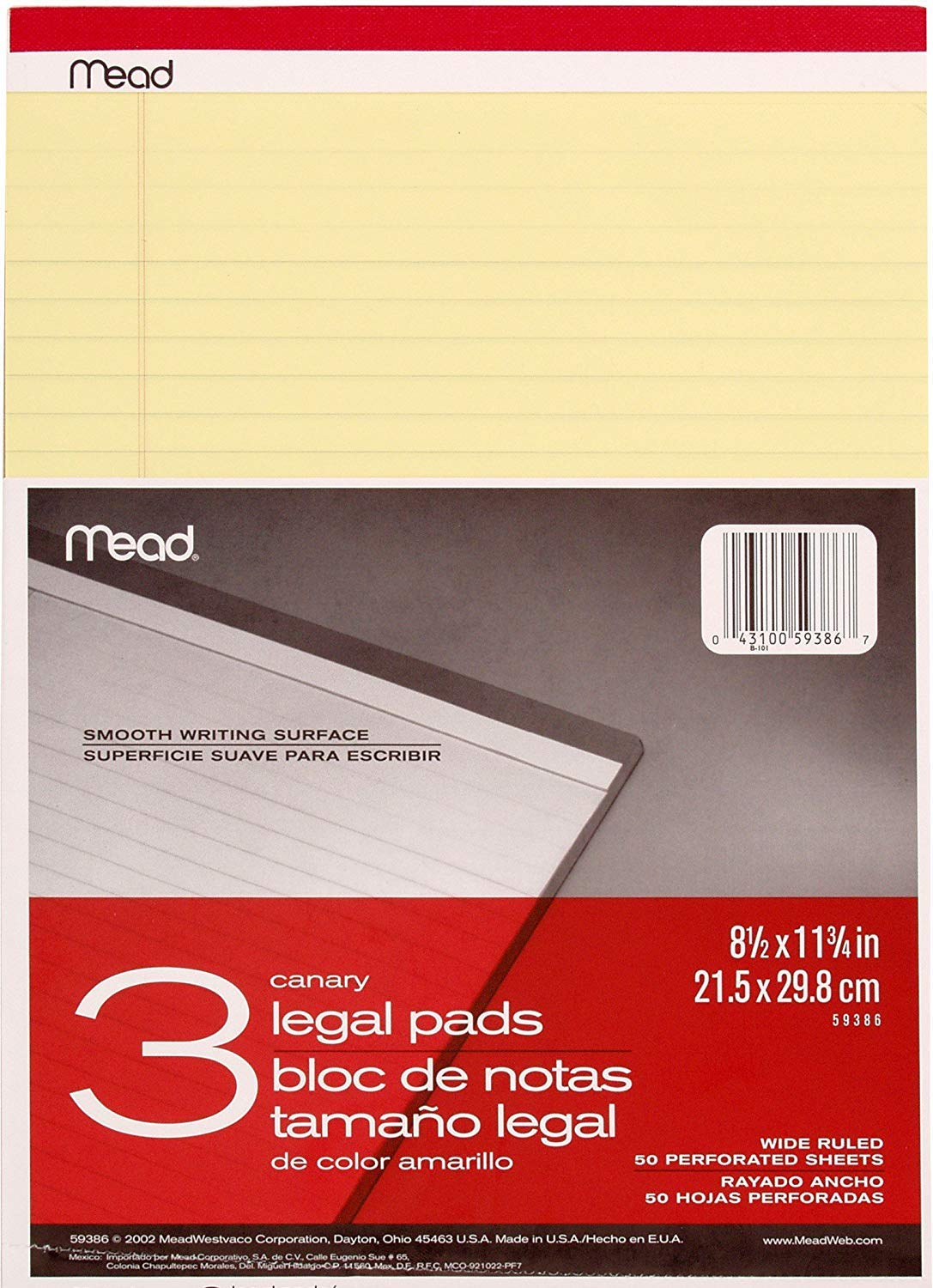 Mead Canary Legal Pads, 8.5 X 11.75 Inches, 6 Pack, 50 Sheets (59386)