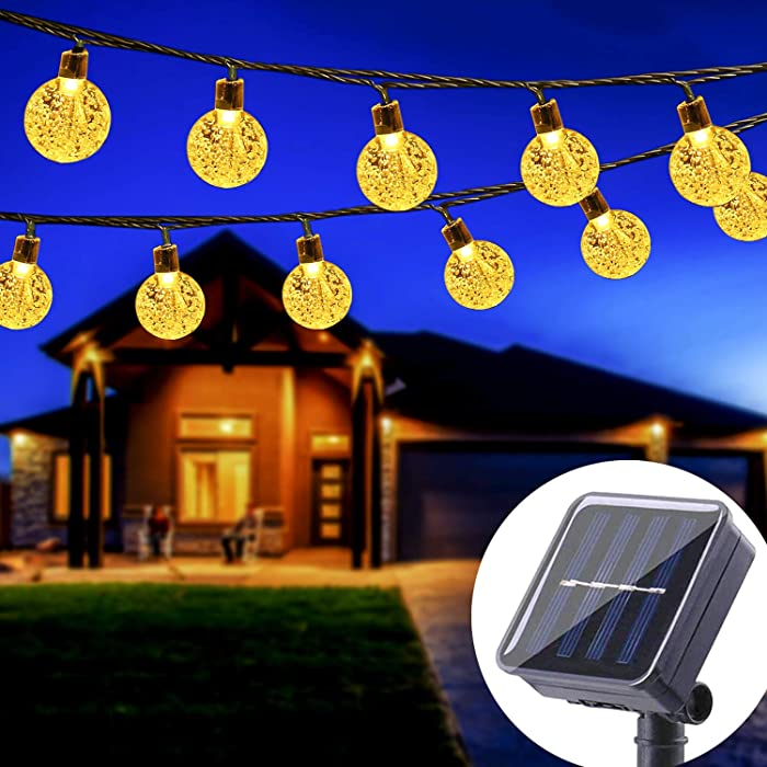 WERTIOO Solar String Lights 45ft 80 LEDs, Outdoor Solar Power Globe Lights Waterproof Crystal Ball Lighting for Patio, Lawn, Garden, Wedding, Party, Christmas Decorations (Warm White)
