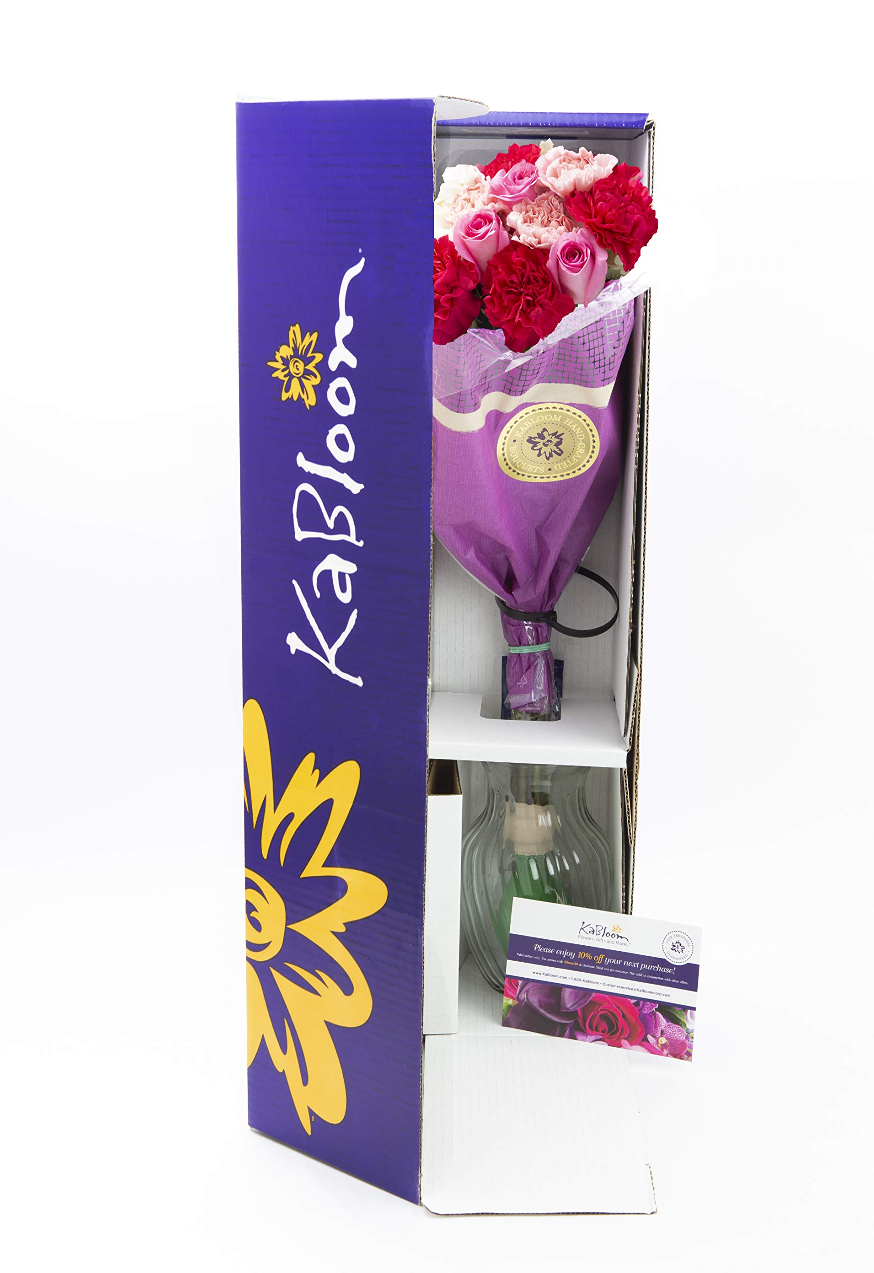 KaBloom Let Them Eat Cake Bouquet of Pink Roses and White Hydrangeas with Vase by KaBloom (Image #2)
