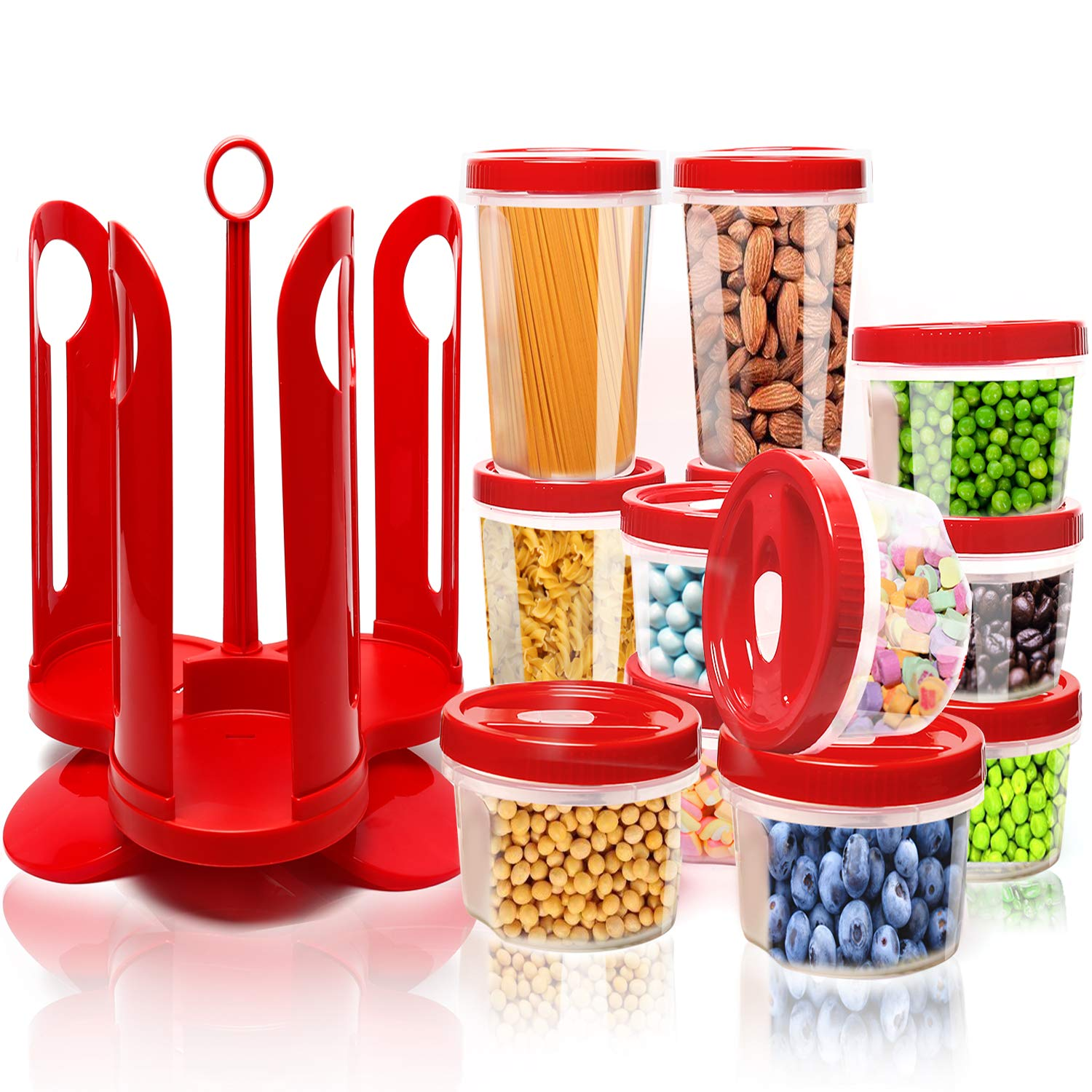 Fun Life 25-Piece Food Storage Container Set with Rotating Rack, Durable Plastic Canister Jar with Red Lids, Perfect for Flour, Sugar, Cereals, BPA Free, Leakproof, Microwave/Freezer/Dishwasher Safe Food Storage Container9