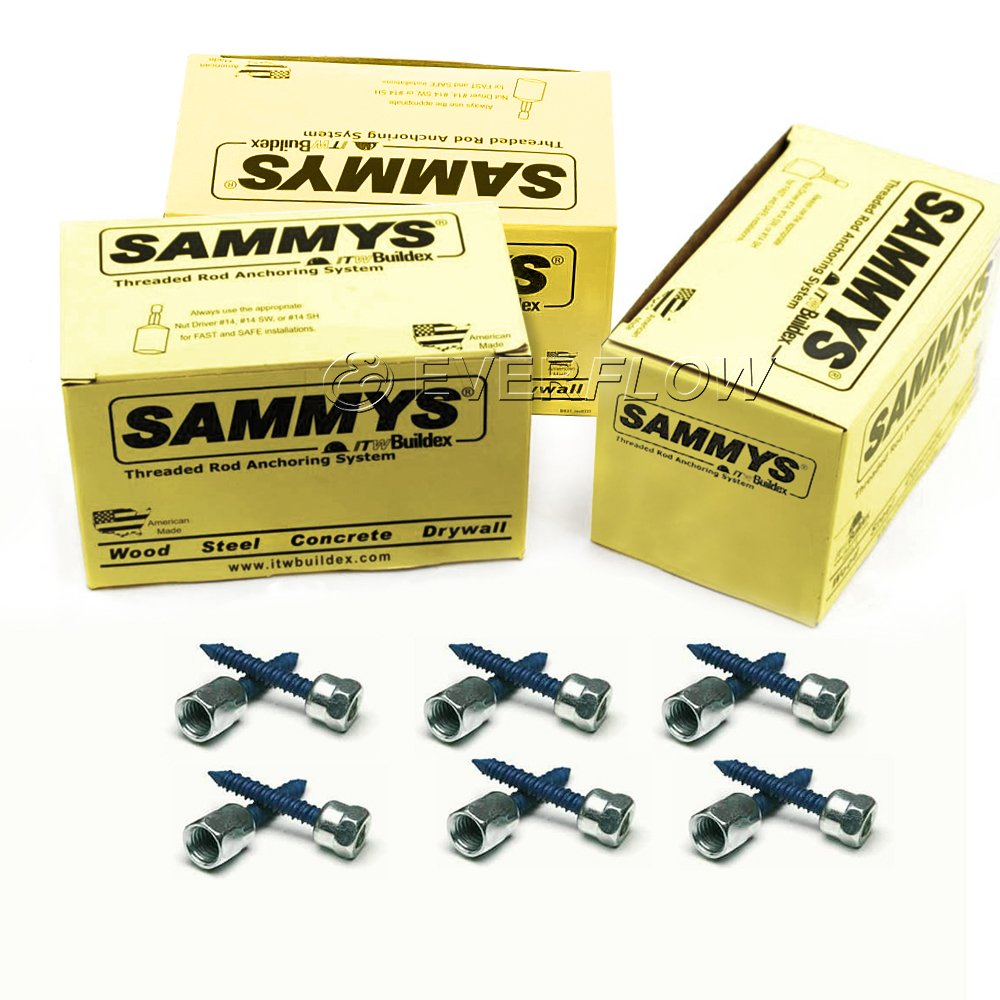 25 Pack Zinc Finish Sammys 5//16 x 1-3//4 Screw Length 5//16 x 1-3//4 Screw Length 25 Pack Steel Everflow 8058957-25 1//4 Screw Vertically Threaded Rod Anchor Designed for Concrete Structure