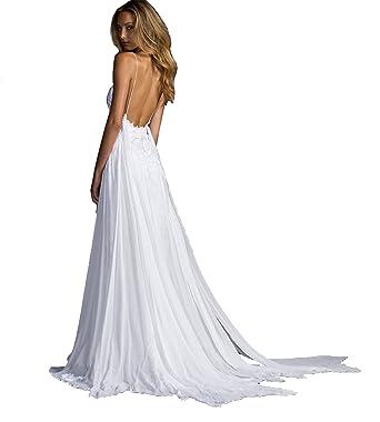 Mingxuerong Hochzeitskleid Boho Chiffon Spitze Lang Sexy Brautkleid