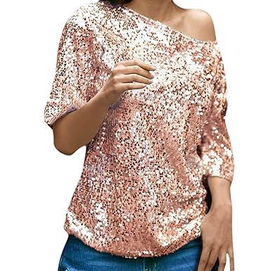 LILICAT Womens Ladies Oblique Off Shoulder Sequins Sparkle Top T-Shirt  Blouse Ladies Half Sleeve fc0f71e6f2c3