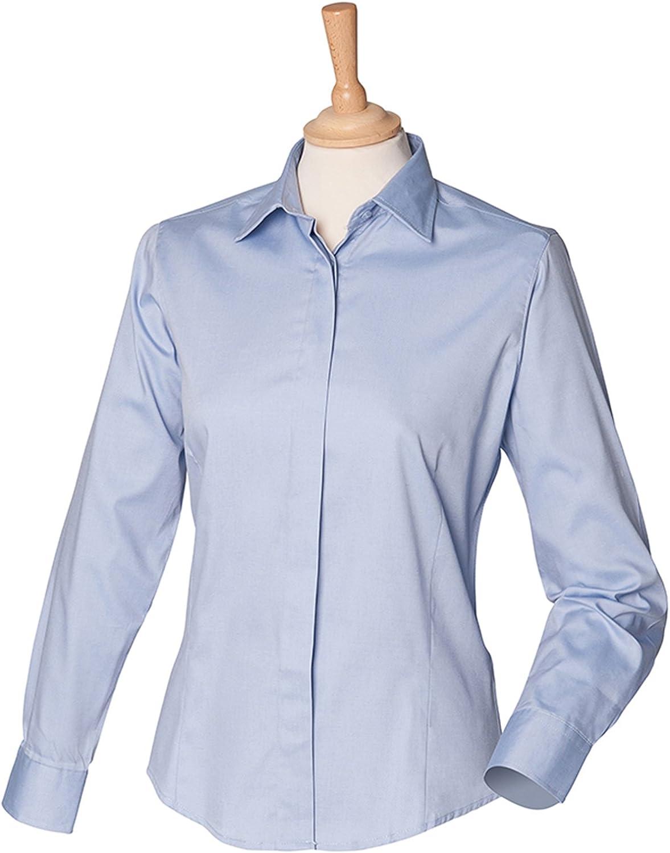 Henbury Oxford - Puño de Doble botón para Mujer de Manga Larga Ligera y fácil Cuidado Azul Azul Claro XXX-Large: Amazon.es: Ropa y accesorios