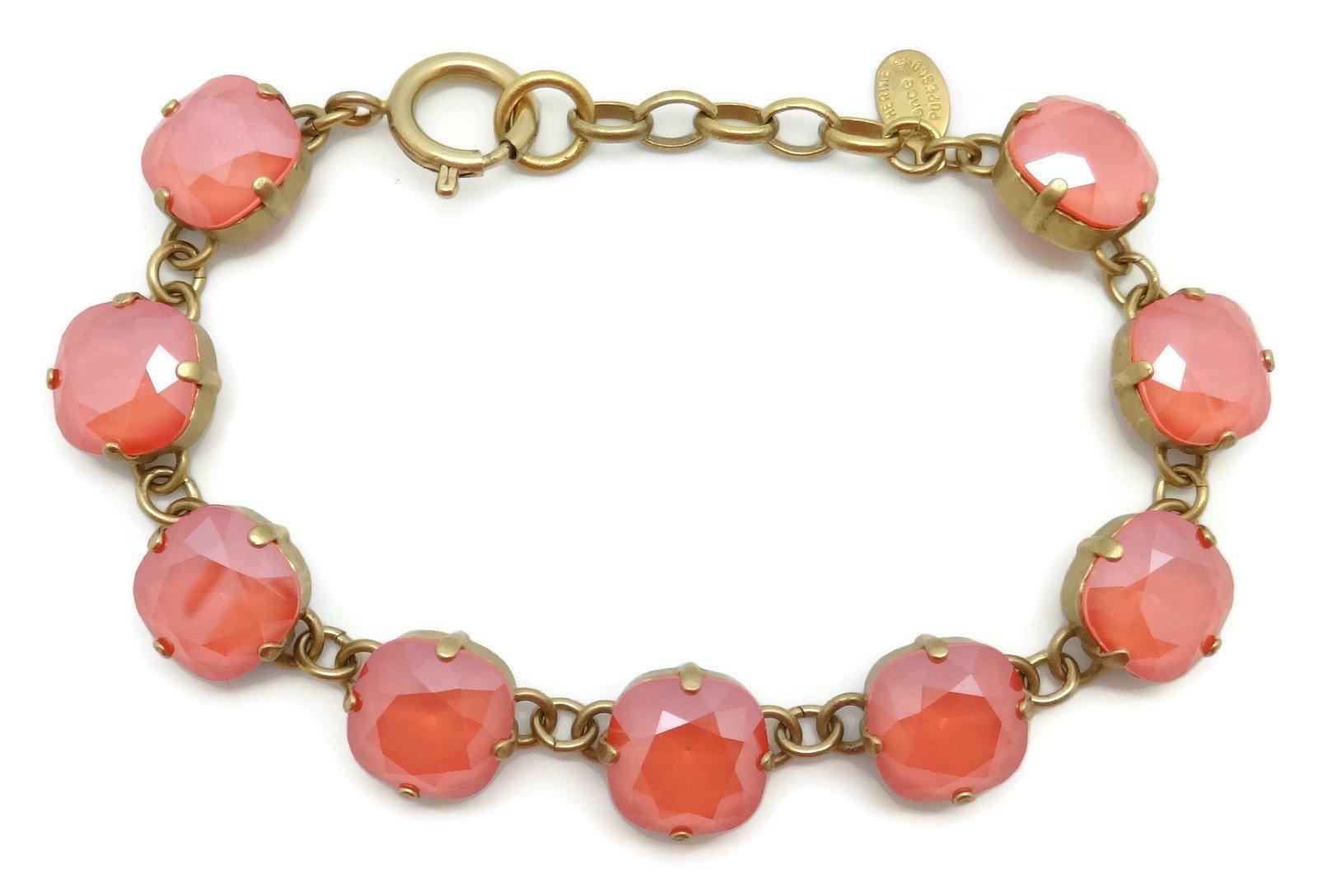 Catherine Popesco 12mm Light Coral Swarovski Crystal Gold Plated Bracelet Adjustable