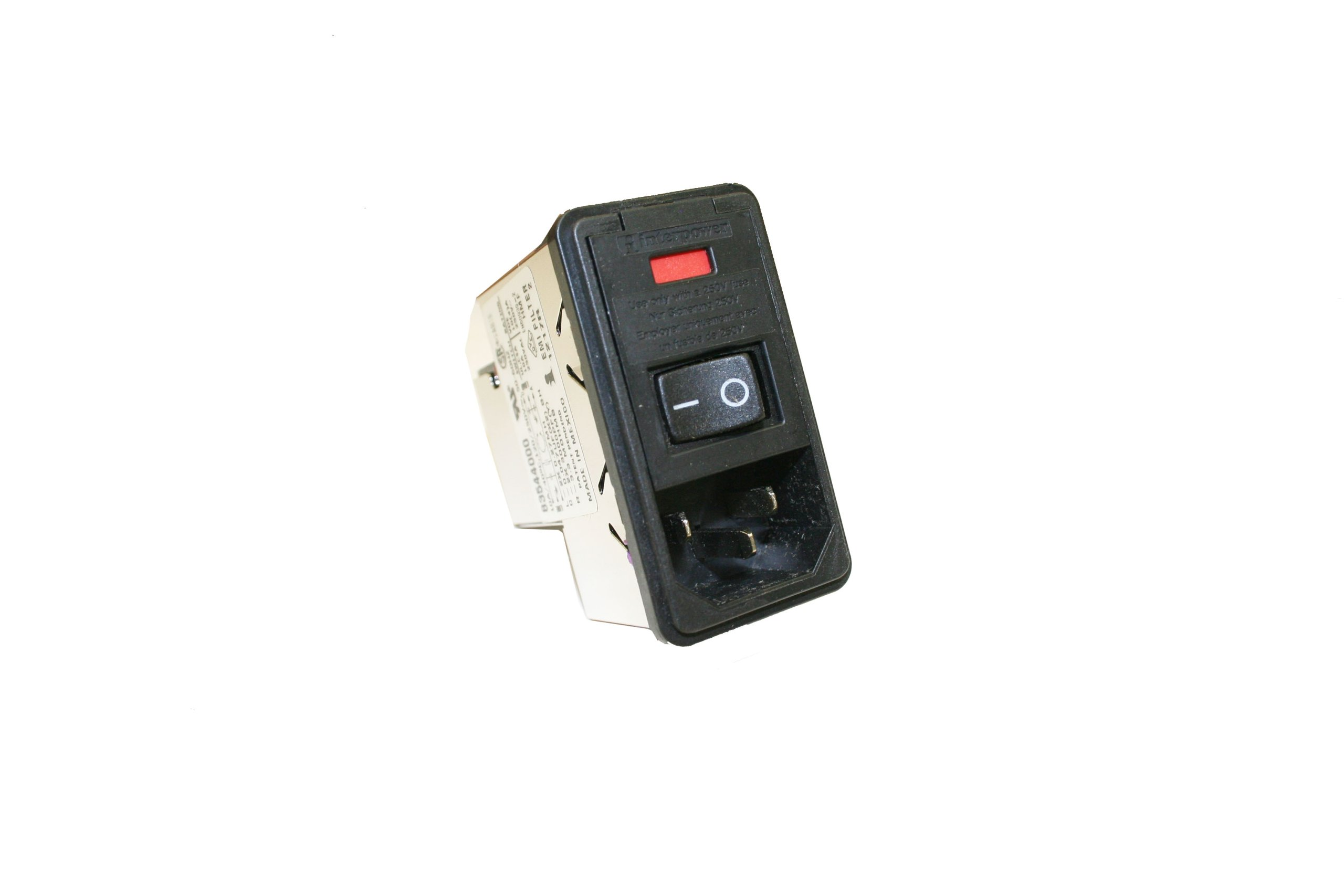 Interpower 83544000 Four Function Filtered Snap-In Module, C14 Inlet, Switch, Single Fused, Filter, 0.08-2mm Panel Thickness, 10A Current Rating, 120/250VAC Voltage Rating