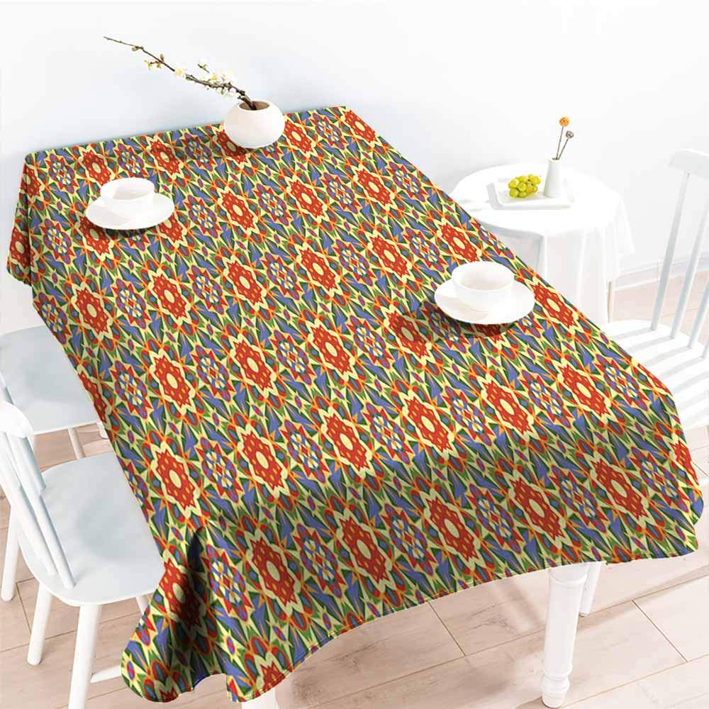 Onefzc Resistant Table Cover,Geometric Floral Pattern Warm Tones Abstract Arabic Culture Inspired Ethic Tribal Motifs,Fashions Rectangular,W60X90L Multicolor