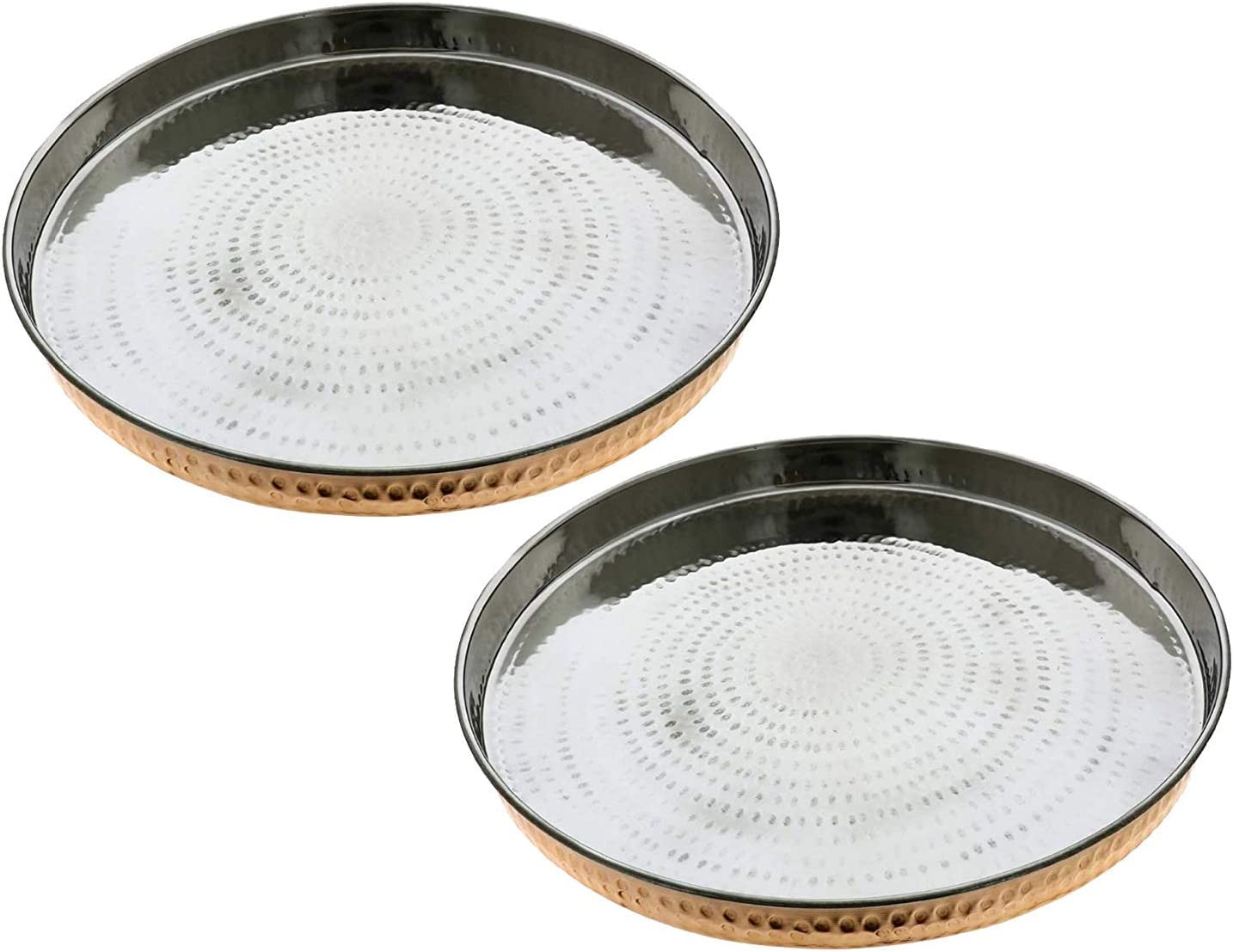 Set of 2 Hammered Copper & Stainless Steel Dinner Plate Thali Tableware Dinnerware for Indian Food and Dishes 13 Inches