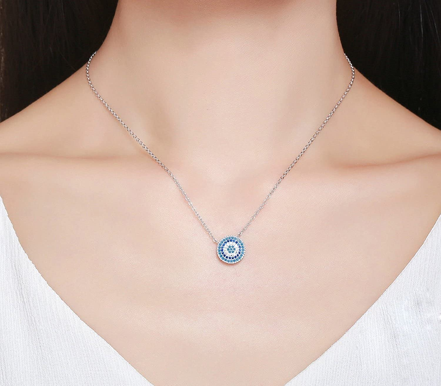 CS-DB Pendants Silver Round Blue Crystal Lucky Blue Eyes Silver Necklaces