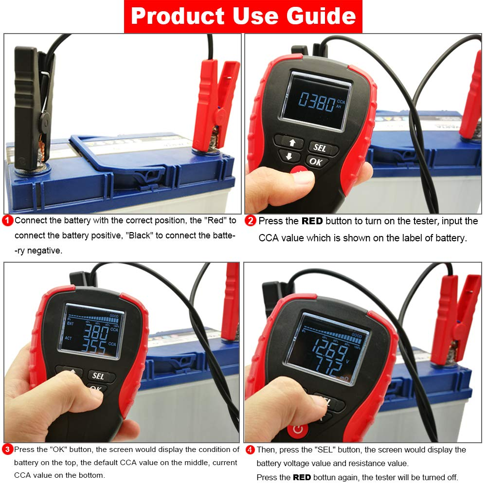 Test Battery Life Percentage eOUTIL Digital Auto Battery Analyzer with LCD Display Resistance and CCA Value for Car // Boat // Motorcycle 12V Car Battery Tester Voltage