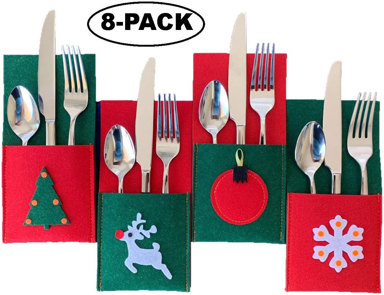 Christmas Silverware Holders for Festive Holiday Entertaining - 8 Pack of Sturdy Felt  Many Table Decoration Ideas  Use for Place Settings  Candy  Notes from Santa
