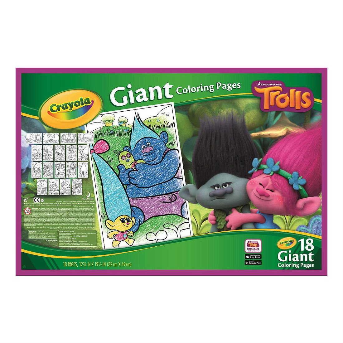 Amazon.com: Dreamworks Trolls Giant Coloring Pages Us seller: Toys ...