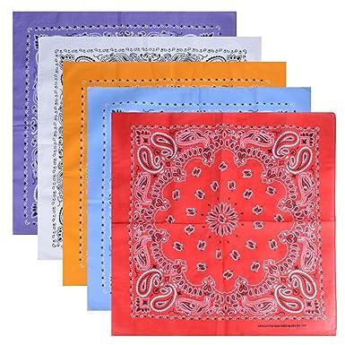 9801ece958c0 FLOFIA 5pcs Bandanas Paisley 100% Coton Multicolore Cachemire Unisexe  Foulard Bandeau Cheveux Echarpe Mouchoir Motif