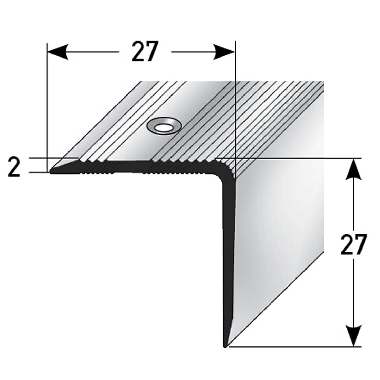 De f/ácil instalaci/ón Antideslizante 170cm 27x27mm plateado Perfil de pelda/ño de escalera perfil de pelda/ño de aluminio acerto 51104 Perfil angular de aluminio Robusto