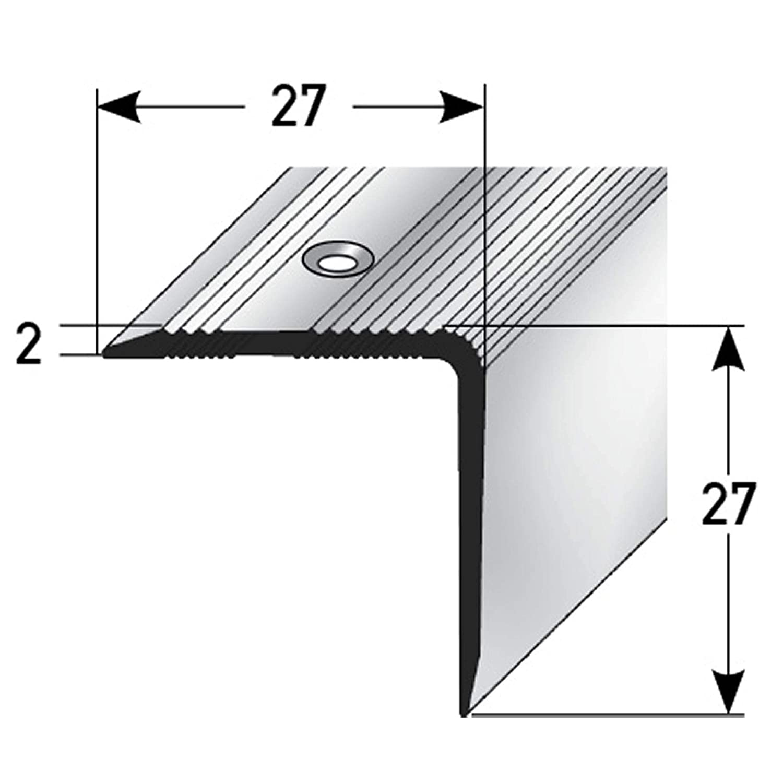 profil de marche en aluminium 27x27mm acerto 51062 Profil dangle descalier en aluminium 100cm argent I Antid/érapant I Robuste I Montage facile I Profil dar/ête descalier