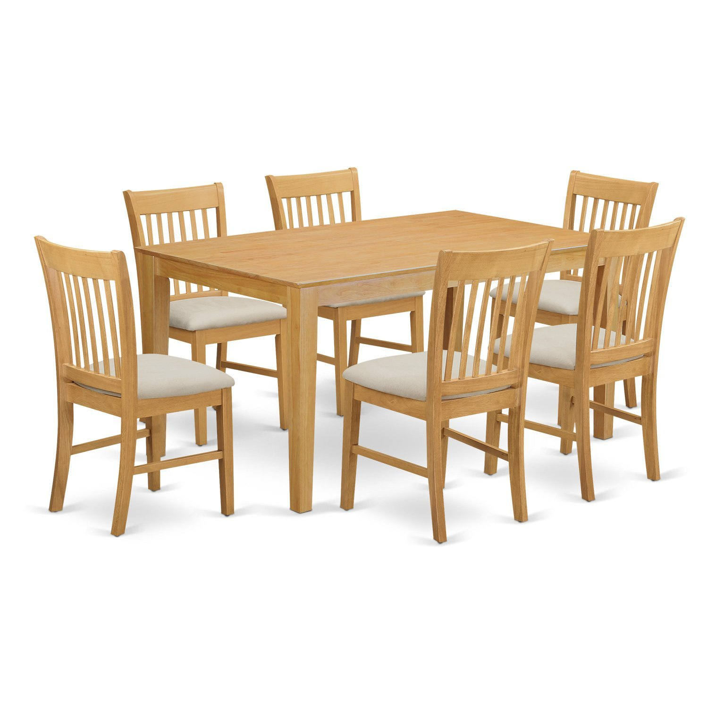 Amazon East West Furniture CANO7 OAK W 7 Piece Dining Room