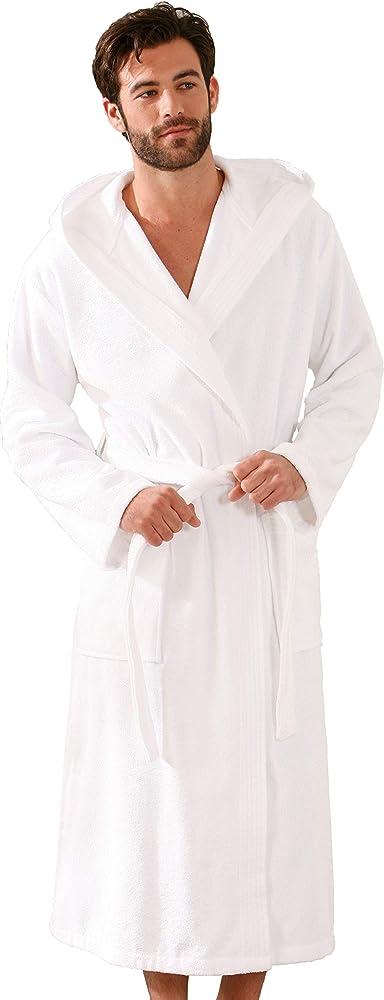 Morgenstern Albornoz Hombre Algodón Rizo Orgánico con Capucha S, Blanco: Amazon.es: Ropa y accesorios