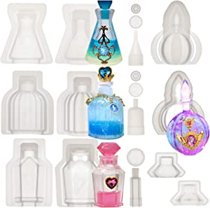 FUNSHOWCASE Small Bottle Container and Stopper UV Resin Epoxy Silicone Mold Jewelry Casting 4 Trays Set