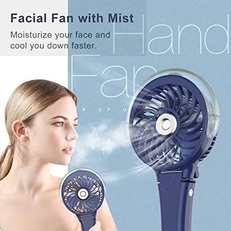 Vcenty Fan Portable Mini Fan with Display Screen USB Rechargeable Hand-held Cooling Fan Powerful Airflow Office Ideal for Trip Disney