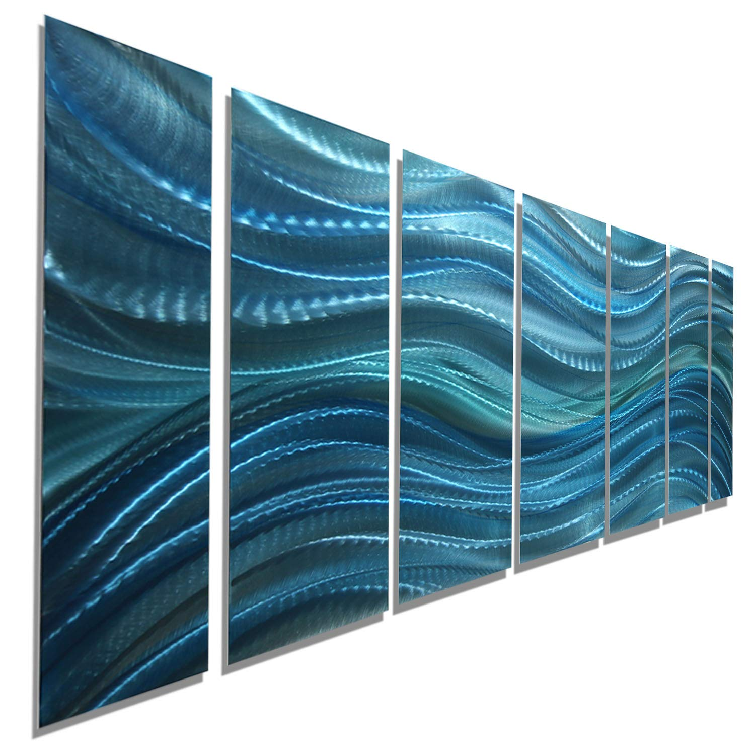 Statements2000 large modern aqua blue water inspired metal wall art abstract multi panel contemporary home office decor calm before the storm xl by