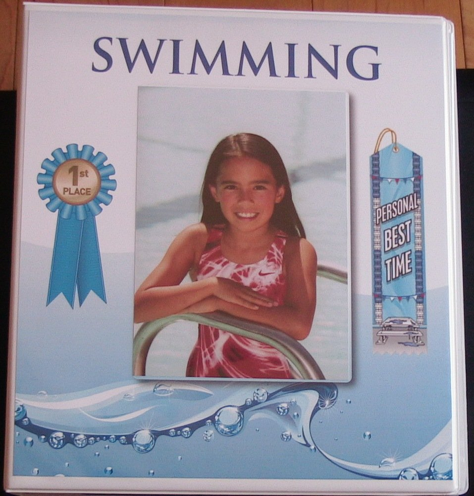 Swimming Award Ribbon BINDER Album Organizer with 15 pages Album Holder Display Gift Track and Field Gymnastics