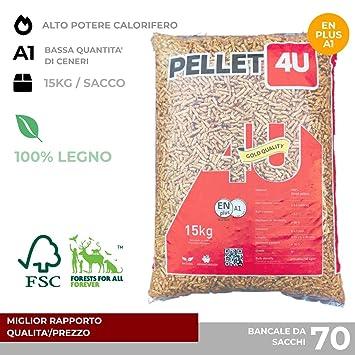 Pellet 4U oscuro 100% madera - Pellet estufa calidad DIN/EN PLUS A1 - Alto poder calorífico: Amazon.es: Bricolaje y herramientas