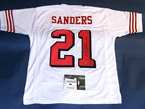 DEION SANDERS AUTOGRAPHED SAN FRANCISCO 49ERS THROWBACK 75TH JERSEY AASH 57cde6e76