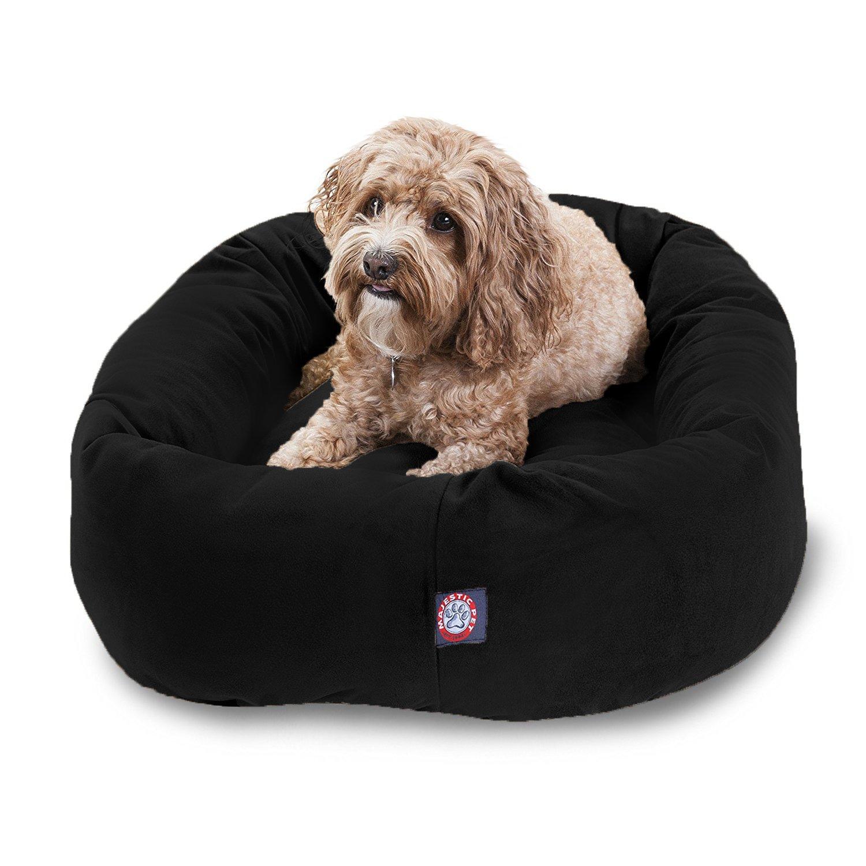Majestic Pet 32  Black Velvet Bagel Dog Bed