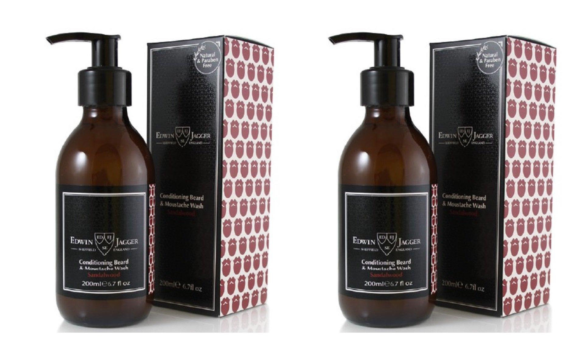 Edwin Jagger Beard and Moustache Care, Waxes, Washes & Accessories (2 Pack, Beard & Moustache Wash 200ml (Sandalwood))
