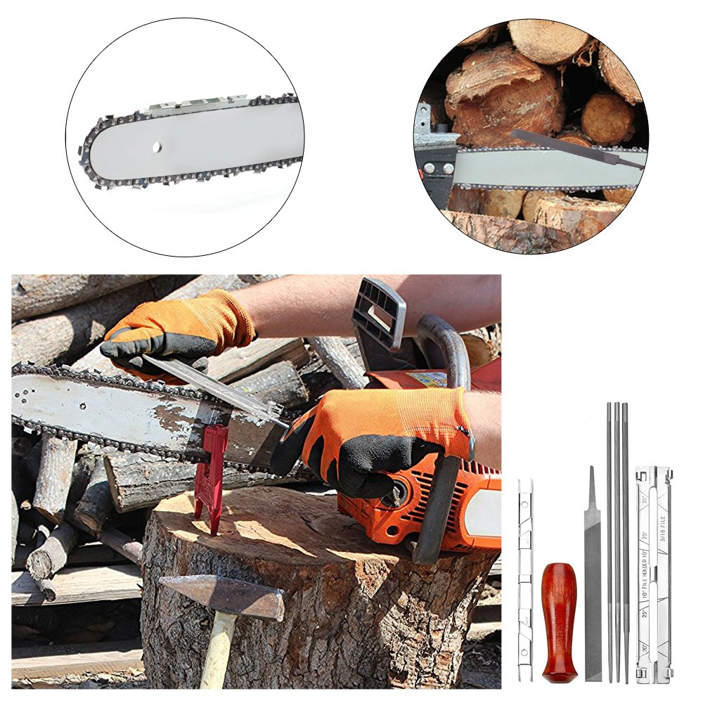DanziX Value Pack of 12 Chainsaw Sharpener File Kit - 5/32, 3/16 & 7/32 Inch Files(Double), Wood Handles (2), Depth Gauge, Filing Guide & Tool Pouch - For Sharpening & Filing Chainsaws & Other Blades