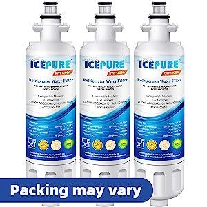 ICEPURE Refrigerator Water Filter, Compatible with LG LT700P, ADQ36006101, KENMORE 46-9690, 9690, ADQ36006102, WSL-3, LFXS30766S, LFXC24726D, LFXC24726S, LFXS24623S, ADQ36006101-S, RWF1200A, Pack of 3