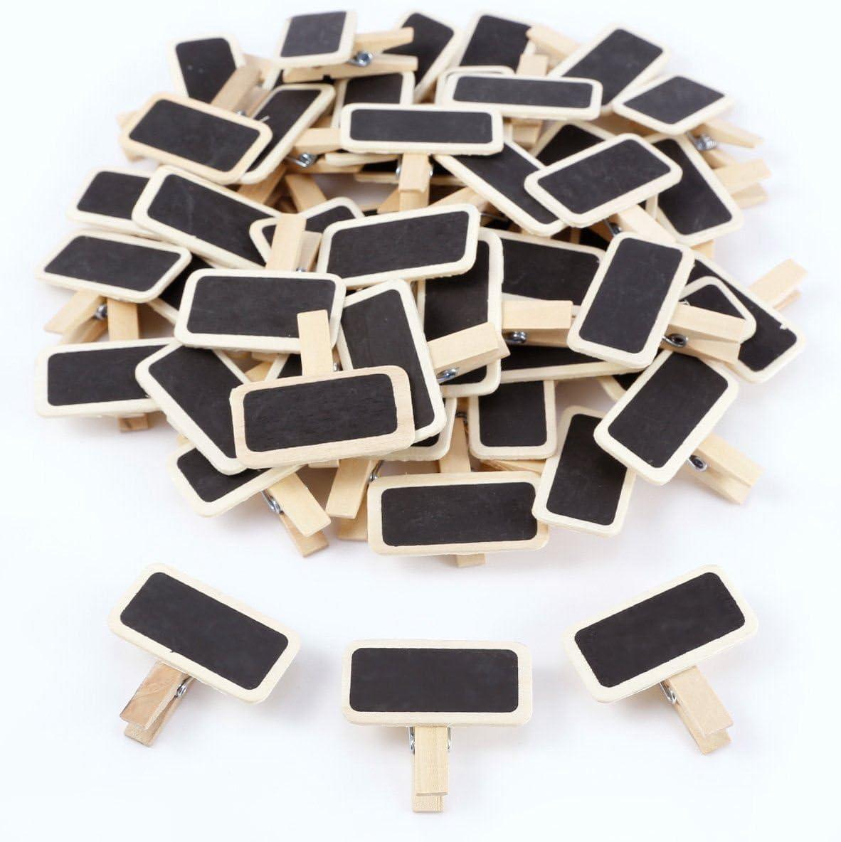Cikuso 50 Mini pizarra Pizarra rectangular de mensaje de madera panel de tarjeta de clip etiqueta memos marca de precio tabla de numeros de lugar