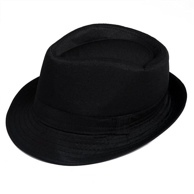 HDE Kid s Short Brim Trilby Fedora Hat (Black) at Amazon Men s ... 641d129d0672