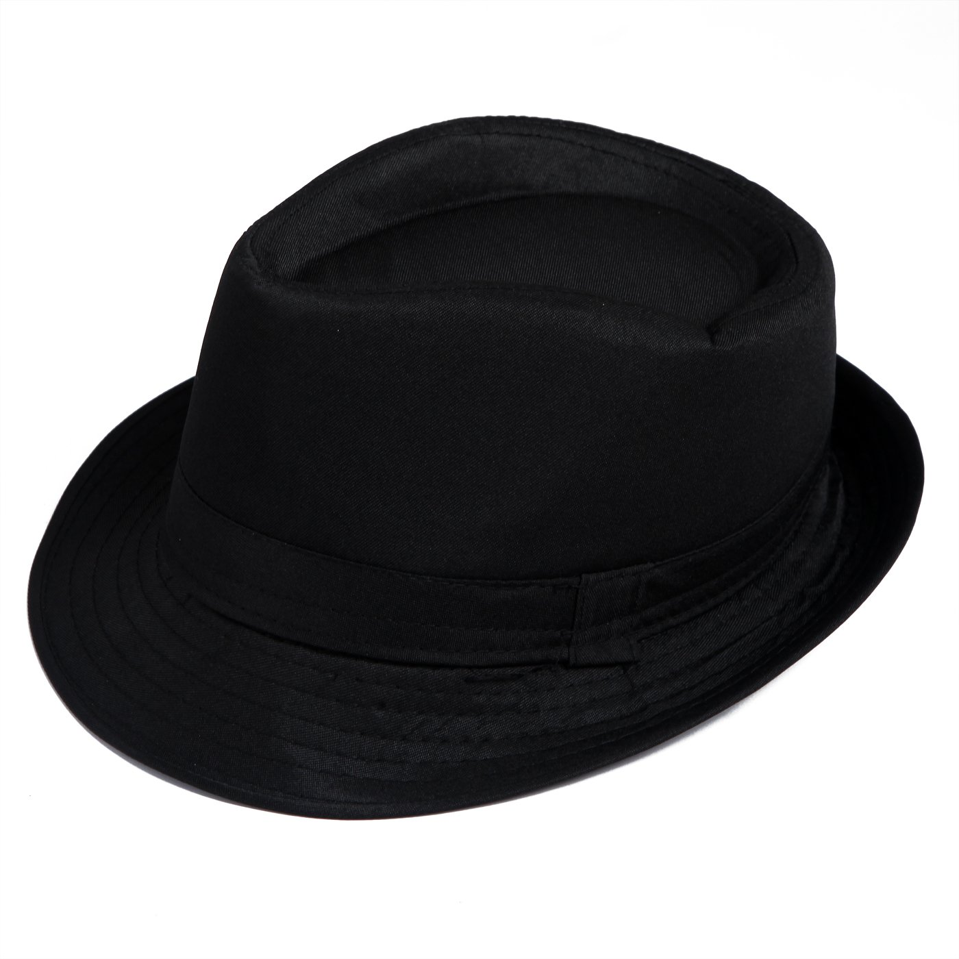 HDE Kid's Short Brim Trilby Fedora Hat (Black)