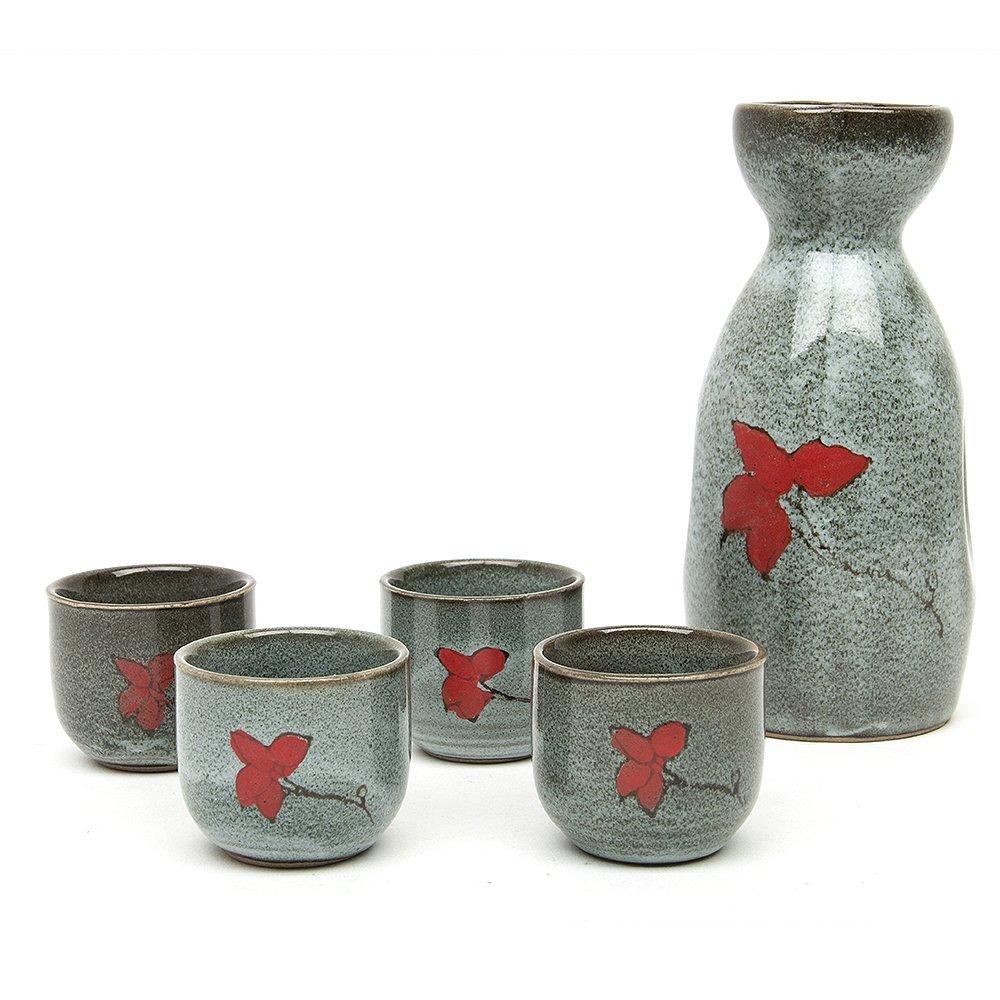 Foggy style Sake Set High Temperature Ceramic 5PCS