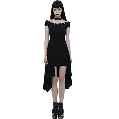 3649f886c32 Punk Rave Black Fashion Gothic Punk Off-The-Shoulder High-Low Daily Casual