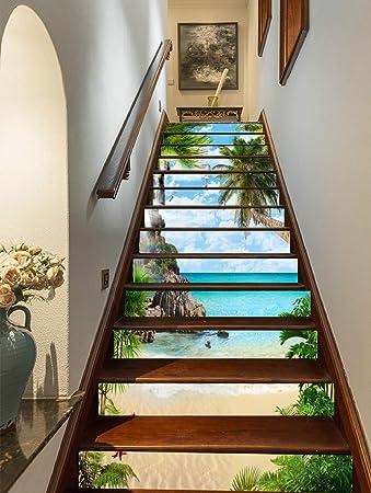 FLFK 3D Playa de palmeras de verano auto-adhesivos Pegatinas de Escalera pared pintura vinilo Escalera calcomanía Decoración 39.3 pulgadas x7.08 pulgadas X 13Piezas: Amazon.es: Bricolaje y herramientas