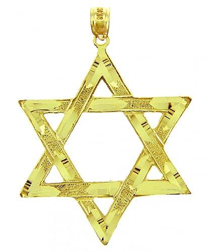 Amazon jewish charms and pendants large gold star of david jewish charms and pendants large gold star of david pendant 14k gold aloadofball Images