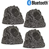 Theater Solutions RBBT4GGMV4 Fully Wireless 240 Watt Rechargeable Battery Bluetooth Granite Rock 4 Speaker Set