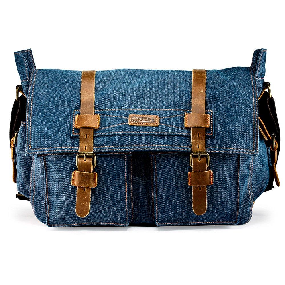 GEARONIC 14''-17'' Men's Messenger Bag Laptop Satchel Vintage Shoulder Military Crossbody … (17 inch, Blue)