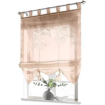 ESLIR Raffrollo mit Schlaufen Gardinen Küche Raffgardinen Transparent  Schlaufenrollo Vorhänge Modern Voile Sand BxH 60x155cm 1 Stück