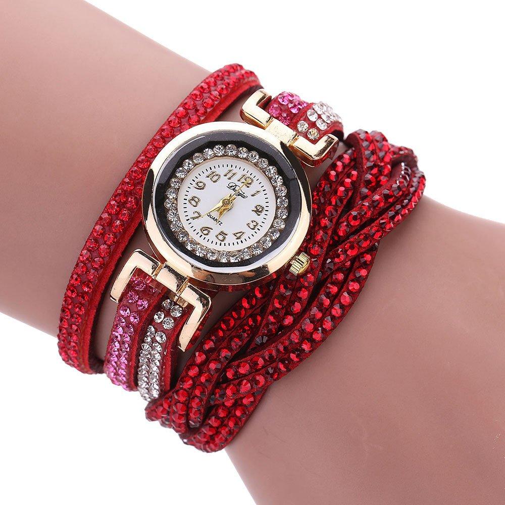 Analog Watch Women Waterproof,Women Luxury Crystal Women Gold Bracelet Quartz Wristwatch Rhinestone Watches,Wrist Watches,Red,Women Watches