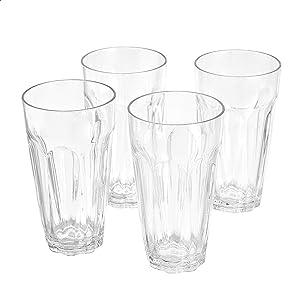 AmazonBasics Tritan Working Style Highball Glasses - 24-Ounce, Set of 4