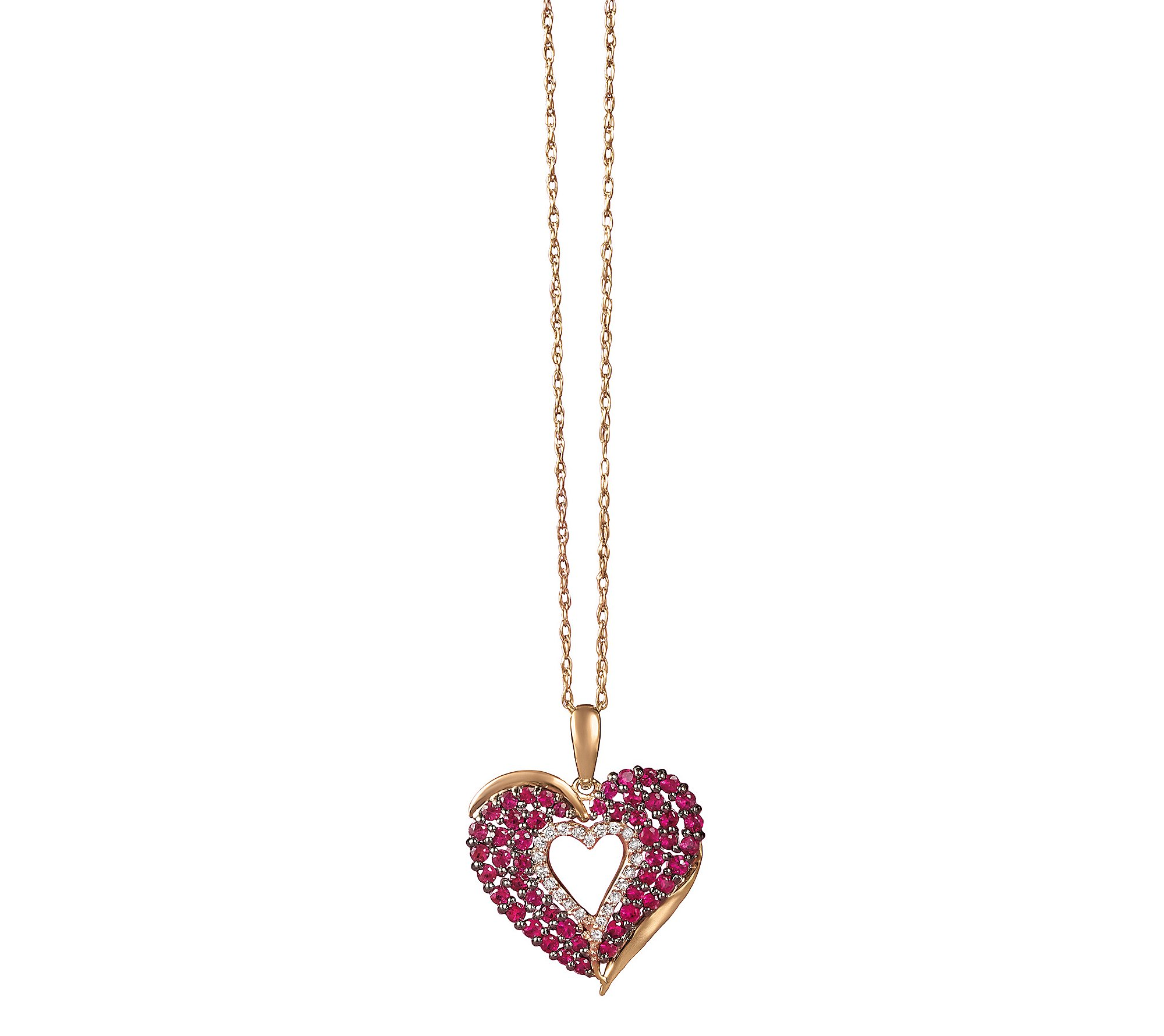 14k Rose Gold Glass-Filled Ruby And 0.11 Ct. T.W. Diamond Heart Pendant by Fine Jewelry