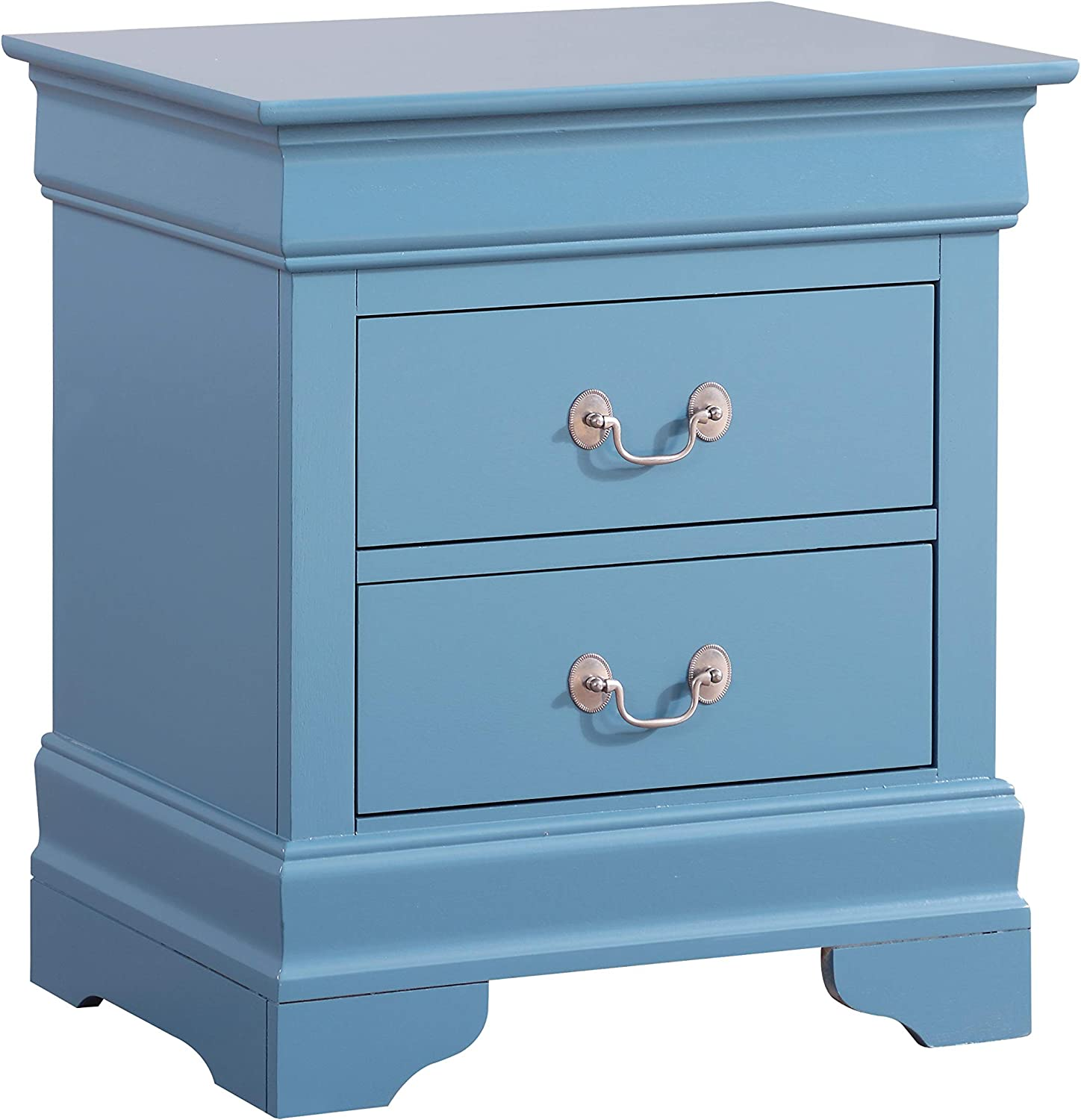 Glory Furniture Louis Phillipe , Teal Nightstand, DIMENSIONS – 24 inches high x 22 inches wide x 16 inches deep