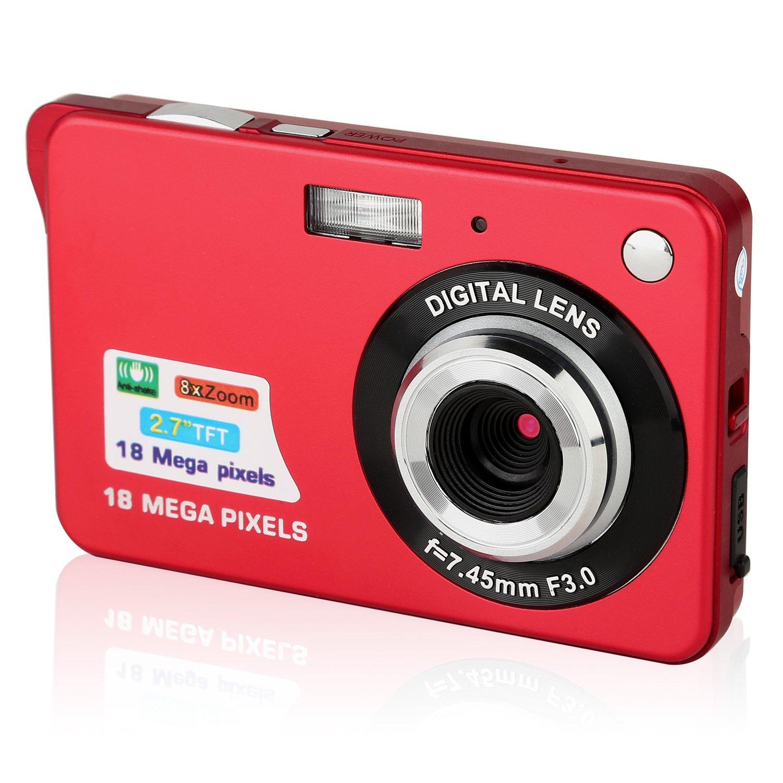 Macchina Fotografica Compatta, Stoga Dfun C3 2.7 inch TFT LCD HD Mini Digital macchina fotografica Videocamere digitali per bambini - Sport, viaggi, campeggio, regalo di compleanno-Rosso product image